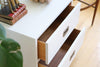 White Lacquered Campaign Chest / Nightstand / Side table No 519 - ShopGoldenPineapple