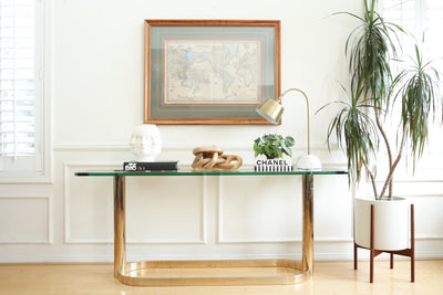 Pace Collection Glass Console/Sofa Table, Brass Base with Glass Top No 678 - ShopGoldenPineapple