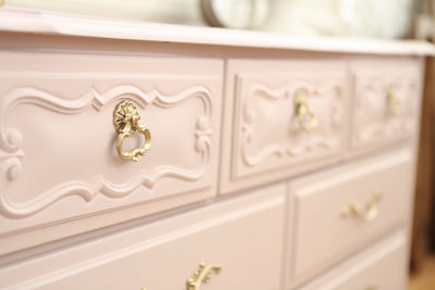 Vintage Shabby Chic Dresser / Credenza with 7 drawers in Baby Pink No299 - ShopGoldenPineapple