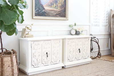 Vintage Boho Chic NightStands Set of Two in White No303 - ShopGoldenPineapple