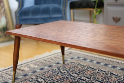 Vintage Mid Century Modern Coffee Table with Brass legs from Canada No100 - ShopGoldenPineapple