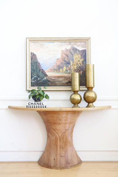 Vintage Pencil Reed Rattan Demilune Console Table No 683 - ShopGoldenPineapple