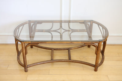 Rattan & Bamboo pencil reed Glass Top Coffee Table No 684 - ShopGoldenPineapple