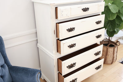 Vintage Shabby Chic Dresser / HighBoy / Tall Dresser in White Distress No119 - ShopGoldenPineapple