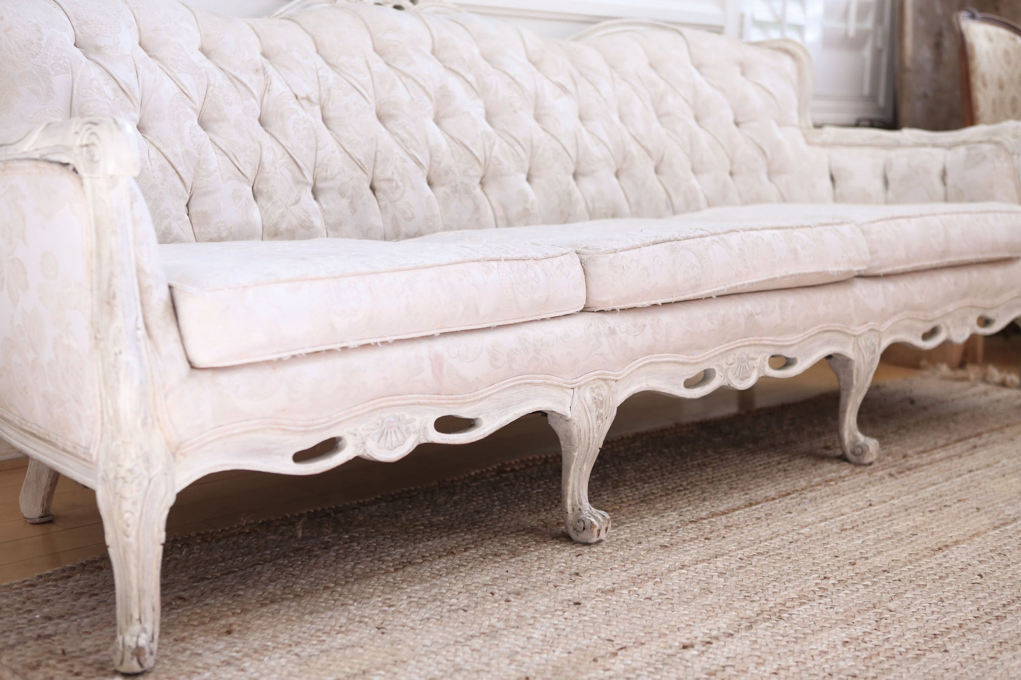 Shabby Chic French Provincial Vintage Long Sofa Couch No339 -  ShopGoldenPineapple