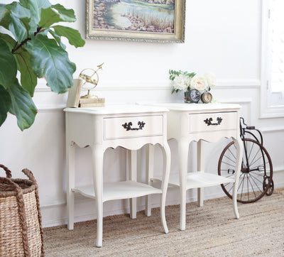 Custom Made Shabby Chic Vintage White NightStands / Side Tables / End Tables Set of Two No311 - ShopGoldenPineapple