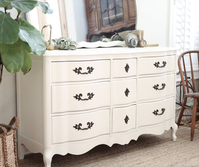 Shabby Chic French Provincial Vintage Dresser / Buffet Cabinet with Mirror No 312 - ShopGoldenPineapple