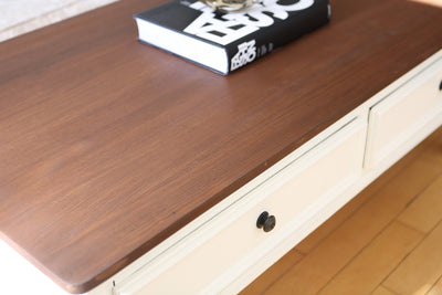 Shabby Chic Vintage Coffee Table with Wooden Top and Drawers No111 - ShopGoldenPineapple