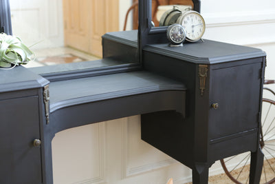 Shabby Chic Antique over 100 years old Vanity Mirror Desk in Black No316 - ShopGoldenPineapple