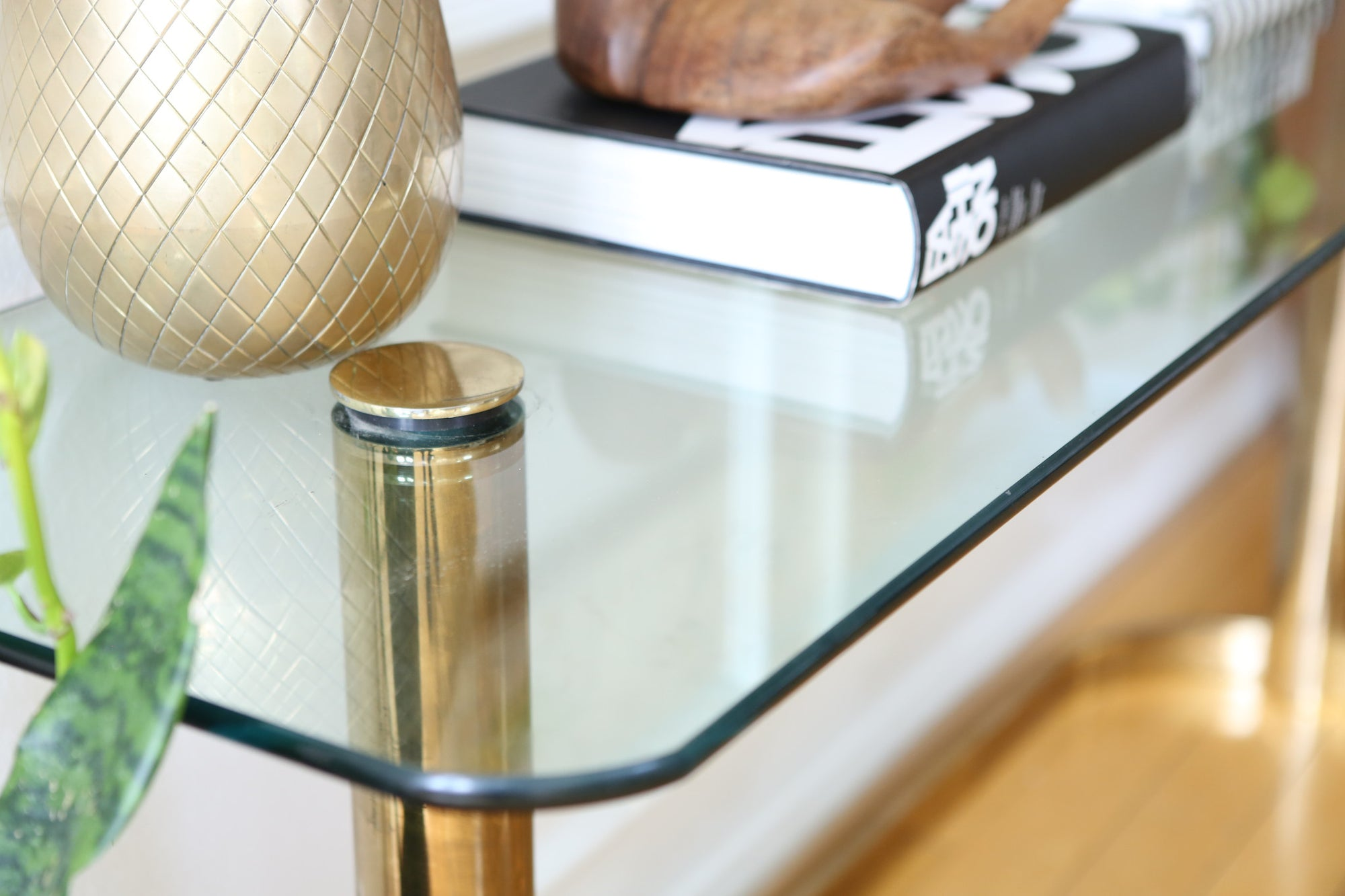 Pace Collection Glass Console Sofa Table Brass Base Nice Patina