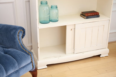 Shabby Chic Vintage Book Shelf with Slid Door in White No116 - ShopGoldenPineapple