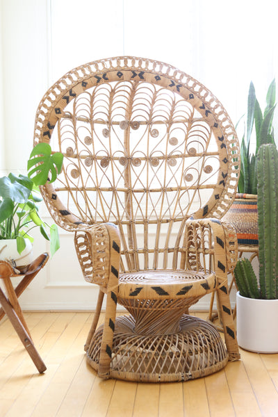 Vintage Rattan and Wicker Peacock Chair No 560