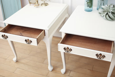Shabby Chic French Provincial Vintage Night Stands / Side Tables / End Tables Set of Two No60 - ShopGoldenPineapple