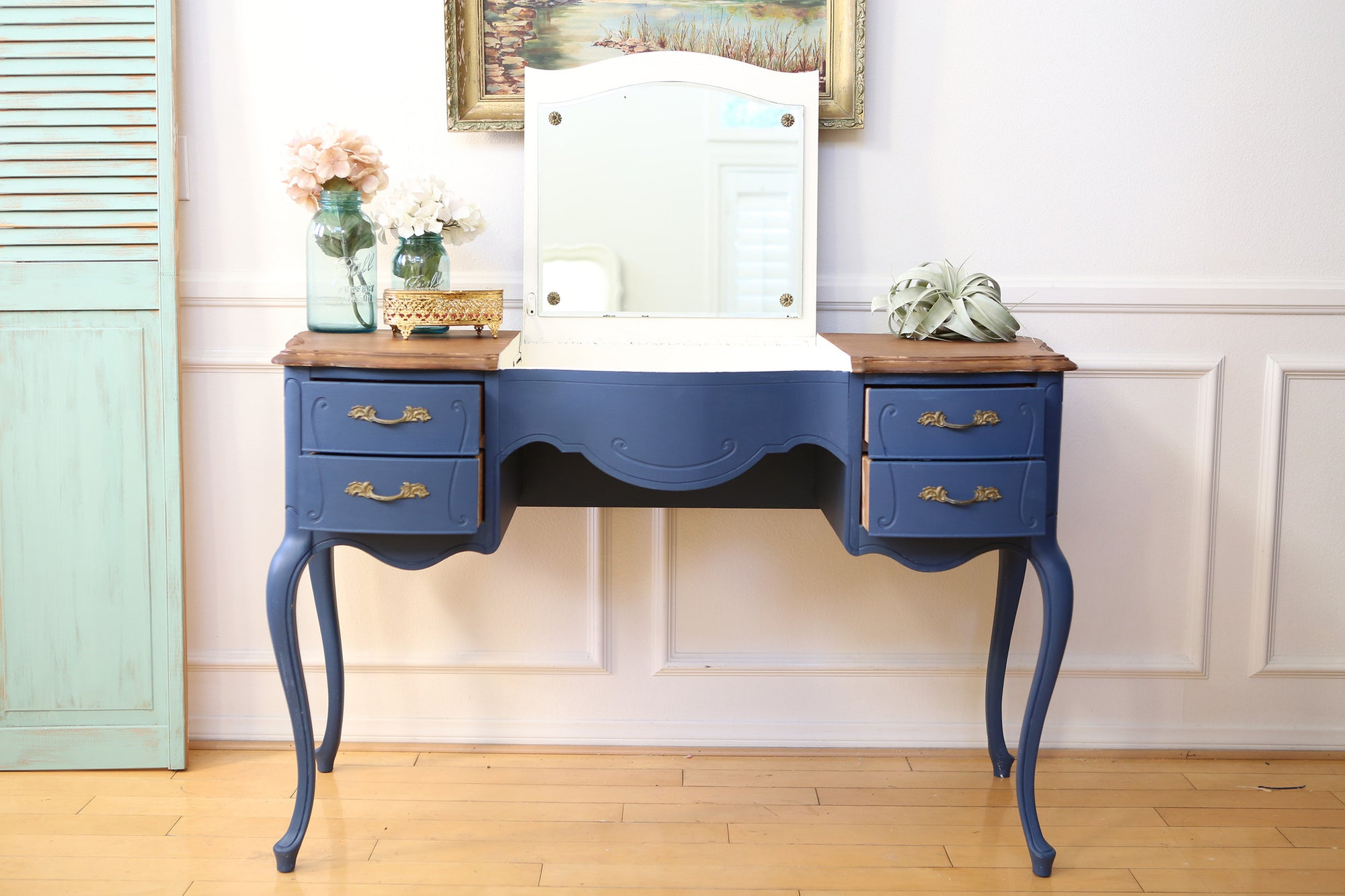 Vintage French Shabby Chic Vanity Desk Console Table With Flip Up