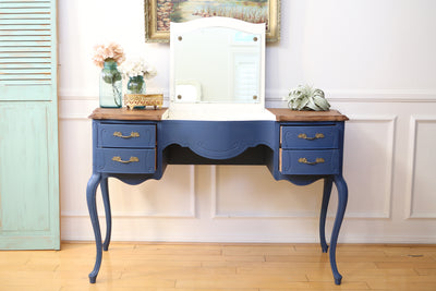 Vintage French Shabby Chic Vanity Desk / Console Table with Flip Up Mirror No123 - ShopGoldenPineapple