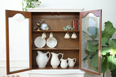 Shabby Chic French Provincial Vintage Hutch / China Cabinet No326 - ShopGoldenPineapple