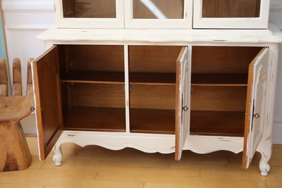 Shabby Chic Vintage Chine Cabinet Hutch in White No103 - ShopGoldenPineapple
