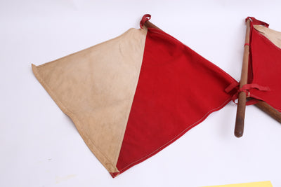 Vintage Red & White Airplane Signal Flags - A Pair No S004