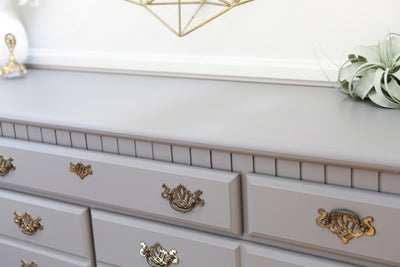 Vintage Shabby Chic Gray Dresser / Credenza with 7 drawers No92 - ShopGoldenPineapple