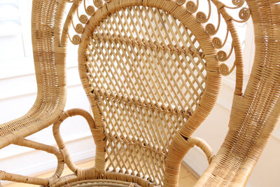 Vintage Rattan and Wicker Peacock Chair No 559