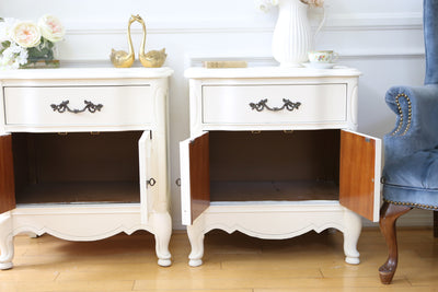 Shabby Chic Vintage White NightStands / Side Tables / End Tables Set of Two 96 - ShopGoldenPineapple