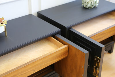 Mid Century Modern Black Nightstands - A Pair No 565 - ShopGoldenPineapple