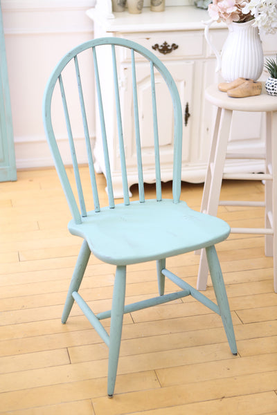 Shabby Chic Vintage Wood Chair in Teal Color No80 - ShopGoldenPineapple