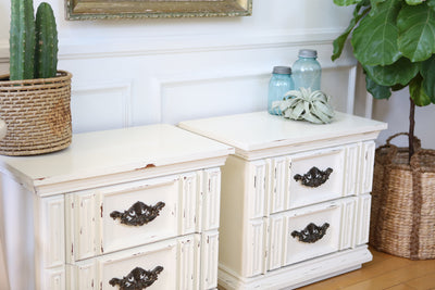 Vintage Boho Chic NightStands / Side Tables / End Tables Set of Two No73 - ShopGoldenPineapple