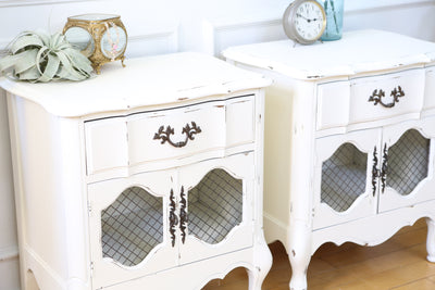 Shabby Chic Vintage White NightStands / Side Tables / End Tables Set of Two 140 - ShopGoldenPineapple
