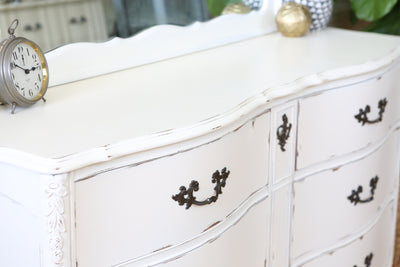 Vintage Shabby Chic Vintage Dresser / Credenza 6 drawers with Mirror No144 - ShopGoldenPineapple