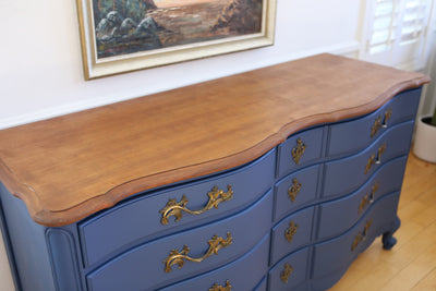 Vintage Dresser with Wooden Top in Classic Navy Blue No 688 - ShopGoldenPineapple