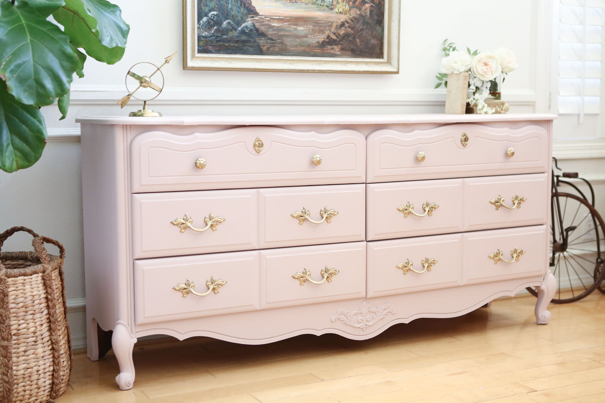 Charming Vintage Shabby Chic Dresser / Credenza With 6 Drawers In Baby Pink No345    ShopGoldenPineapple