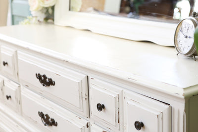 Vintage Shabby Chic Dresser / Credenza with Mirror in White No146 - ShopGoldenPineapple