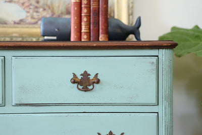 Vintage Shabby Chic Dresser / HighBoy / Tall Dresser with Wooden Top No152 - ShopGoldenPineapple