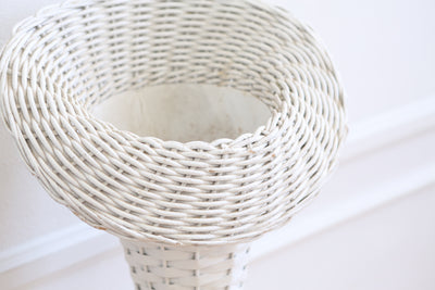 Vintage White Wicker Basket Tall Planter Stand / Flower Stand - A Pair No S590 - ShopGoldenPineapple