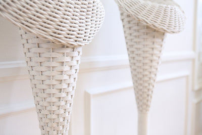 Vintage White Wicker Basket Tall Planter Stand / Flower Stand - A Pair No S590