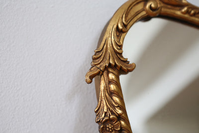 Antique French Hand Carved Wood Mirror Gold No 354 - ShopGoldenPineapple