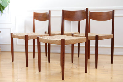 Poul Volther for Frem Rojle Danish Mid Century Modern 1960s Danish Teak/Papercord Dining Chairs Set of 4 No 361 - ShopGoldenPineapple