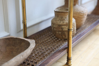 Vintage Gold Faux Bamboo Wicker Cane Console Table with Glass Top No 597