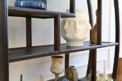 Boho Chic Vintage Asian Display Etagere Shelving in Black No 598 - ShopGoldenPineapple