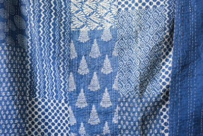 Vintage Indigo Kantha Quilt Throw - King Size No KA001