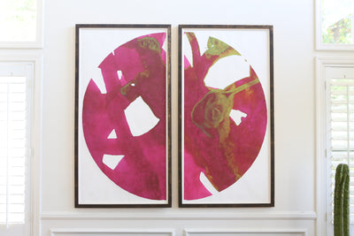 Over-sized Large Abstract Framed Art - A Pair No 602 - ShopGoldenPineapple