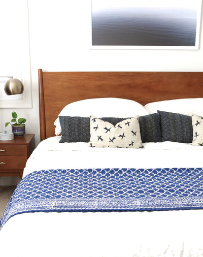 Vintage Indigo Kantha Quilt Throw - King Size No KA004 - ShopGoldenPineapple