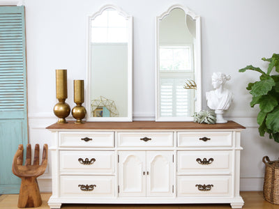 Shabby Chic Wooden Top Vintage Dresser / Buffet Cabinet / Credenza with Mirror No114 - ShopGoldenPineapple