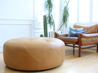 Genuine Round Leather ottoman / Coffee table No 654 - ShopGoldenPineapple