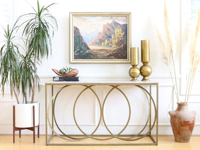 Modern Geometric Gold Iron White Marble Console Table No 608 - ShopGoldenPineapple