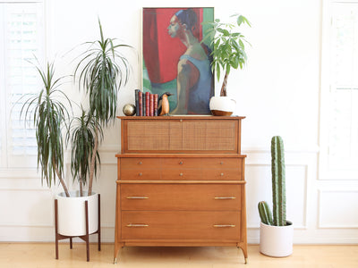 Paul McCobb Style Mid Century Modern Danish Cane HighBoy Dresser No 609 - ShopGoldenPineapple