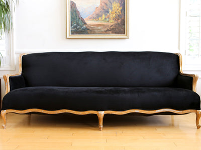 Vintage French Velvet Black Louis style Long Sofa Couch No 611 - ShopGoldenPineapple