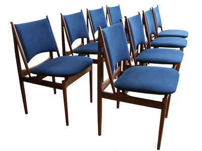 Mid Century Modern Teak Dining Chairs in Navy Blue - Set of 8 No 627 - ShopGoldenPineapple