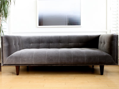 Mid Century Modern 3 seat sofa  gray Cotton Velvet No 628 - ShopGoldenPineapple